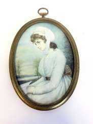 Emil Rau (1858 Dresden - Munich, 1937): Great Ivory Miniature. Gold-Plated Frame. 2. Half of the 19th century. Century