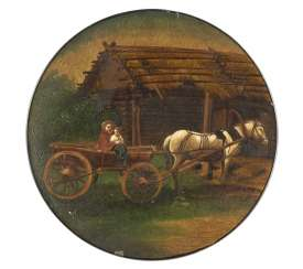 LACQUER PLATE WITH MOTHER AND CHILD IN A HORSE-DRAWN CART