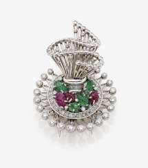 Brooch with rubies, emeralds and diamonds