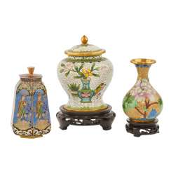 Group Of 3 Cloisonné Our Vase Vial. CHINA, 20. Century.