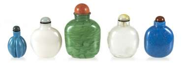 Five Snuffbottles made of white, blue, and green glass