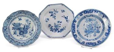 Three underglaze blue porcelain plate with floral decor