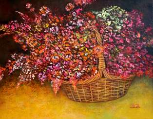 The flowers in the basket