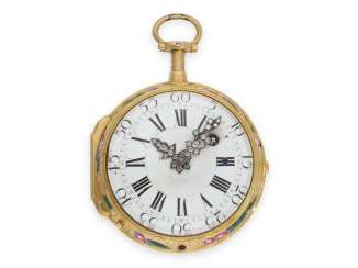 Pocket watch: very fine 20K Gold/enamel Louis XV Spindeluhr with less Repetition and extremely rare diamond pointers, Flournoy a, Paris, CA. 1760