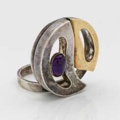 Brazilian amethyst designer ring from the 1960s