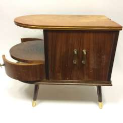Side table / liquor Cabinet / kidney tables: 1950-s, glass,