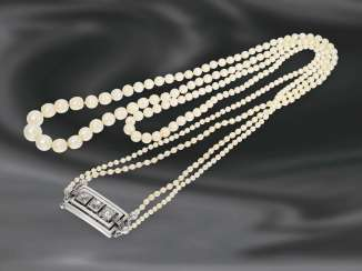 Chain/necklace: 2-row, a very rare and valuable antique necklace chain with natural pearls, 14K white gold clasp set with diamonds, approximately 1ct
