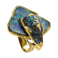 Artists ring with black opal