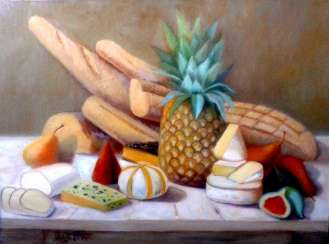 Still life with pineapple an cheese