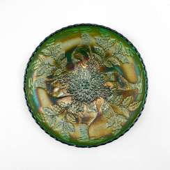 "Serving plate ""Stag & Holly"". USA, Fenton, carnival glass, handmade, 1907-1920"
