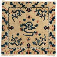 Square Seating rug with dragon decoration in Yellow and Blue