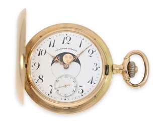 Pocket watch: rare double-sided astronomical gold savonnette with Calendar according to the Patent of HENRI JACOT-BURMANN (Brevet 24914)