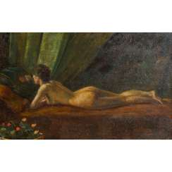 "IMPRESSIONIST 19th / 20th Century, ""Reclining female nude, reading a book"","