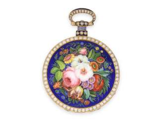Pocket watch: stunning and extremely rare, with Orient pearl-set gold enamel pocket watch, made for the Chinese market -