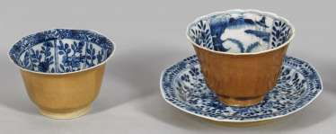 Two blue-and-white coupling and plate with Café au lait glaze