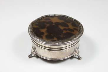 Small round silver box, England