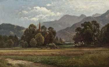 Haymaking in the foothills , Weber, Paul 1823 Darmstadt, Germany - 1916 Munich