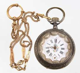 silver pocket watch with watch chain
