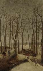 Winter forest landscape with figure staffage