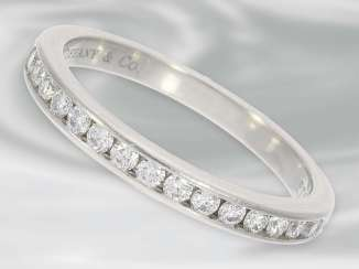 Ring: delicate Half eternity ring made of platinum, studded with diamonds, branded jewelry from Tiffany & co.