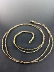 Long anchor necklace / watch chain: length 122 cm, Gold Doublée, carbine hook, around 1920, good condition.