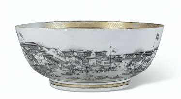 A GRISAILLE AND GILT 'HONGS OF CANTON' PUNCHBOWL