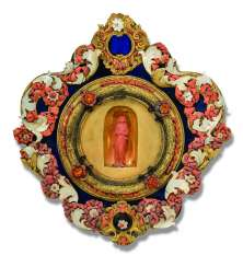 A SICILIAN GILT-COPPER, BLUE GLASS, CORAL AND MOTHER-OF-PEARL-SET RELIQUARY