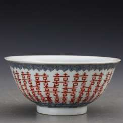 Qing Dynasty pastel double happiness porcelain bowl