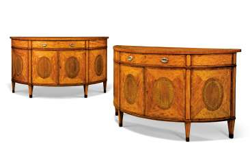 A PAIR OF GEORGE III SATINWOOD, INDIAN ROSEWOOD, AMARANTH, T...