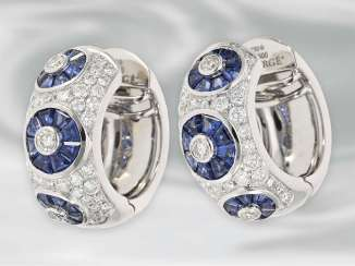 Earrings: very decorative Brilllant/sapphire-Hoop earrings, 18K white gold, Faberge by Victor Meyer, limited edition 23/500, unworn, with original label!