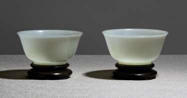Pair of very fine, almost white bowls made of Jade