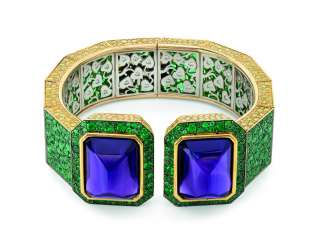 AMETHYST, EMERALD, COLORED DIAMOND AND DIAMOND BANGLE, KARRY BERREBY