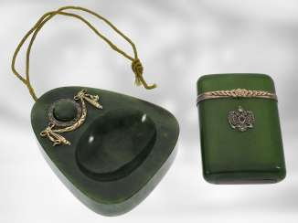 Table bell / case: extremely rare and important Art Nouveau set, table bell and matchstick case made of nephrite, gold and silver, probably FABERGÉ Henrik Wigström, around 1900, signed with original box