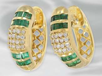 Earrings: decorative vintage Hoop earrings with diamonds and emeralds, Christ jewellery, approx 0.32 ct, 18K Gold