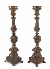 Pair of large altar candlesticks, in the Baroque style at the end of 19th century. Century