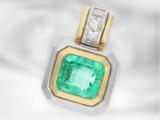 Trailer: modern, very high-quality emerald/brilliant-gold forged pendant, including opinions