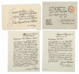 Collection of Adolf Hölzel, a card and 2 hand-written letters of Adolf hölzel's master