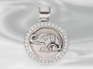 Pendant: white Golden diamond pendant clip with elephant motif, approx 1,06 ct, 18K white Gold, unworn, brand Laudier