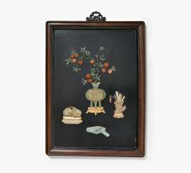 Lacquer panel with antiques
