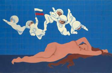 SAVKO, ALEXANDER (B. 1957) Reclining Venus with Cosmonaut Putti, from the series