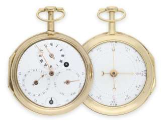Pocket watch: extremely rare, early gold astronomical pocket watch with 2 dials, regulator dial and 4 astronomical complications, presumably Switzerland, around 1780