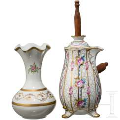 Jug and vase, Limoges porcelain factory, 20th century