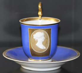 Tea and saucer with a bas-relief of Princess Louise, KPM, first third of the XIX century