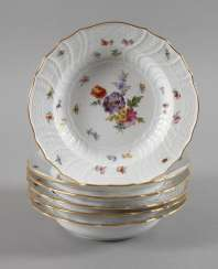 Meissen six soup plates with insects painting