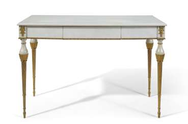 A FRENCH ORMOLU-MOUNTED WHITE-PAINTED AND PARCEL-GILT CENTER TABLE