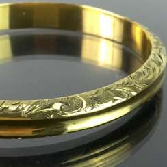 Bernhard Greif: fancy bangle, hollow, drawn, forged and engraved silver 835 gold plated, unique, very well.