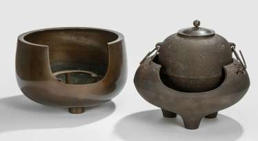 Chagama and two-Furo Hibachi are made of iron or Bronze