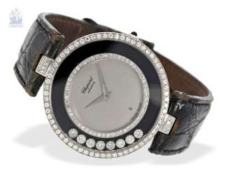 Watch: luxurious, large ladies watch, Chopard Happy Diamonds, Big size, in 18K yellow gold, Ref-and-white. H2563, 80s