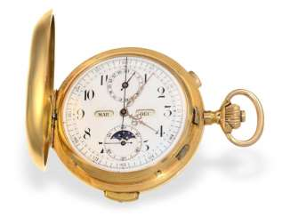 Pocket watch: heavy, astronomical gold savonnette with 6 complications, Invicta 1890