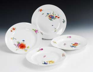 4 plates with flower painting, Meissen.